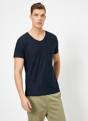 Koton V Yaka T-Shirt Lacivert